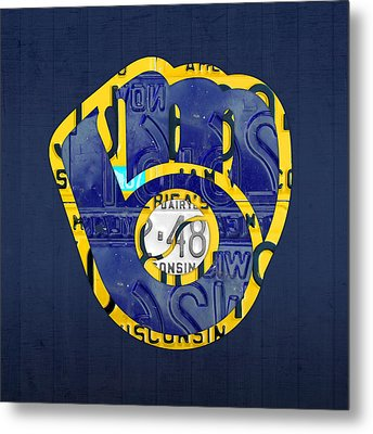 Milwaukee Brewers Vintage Baseball Team Logo Recycled Wisconsin License Plate Art Metal Print by Design Turnpike