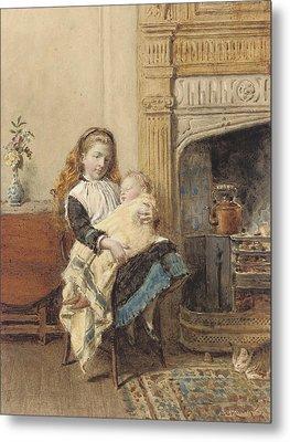 Minding Baby Metal Print by George Goodwin Kilburne