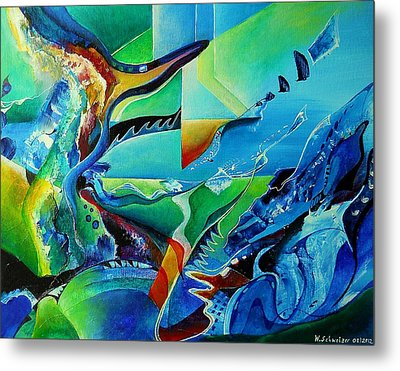 mindscape no.2-Improvisation Saxophone and Piano Metal Print by Wolfgang Schweizer