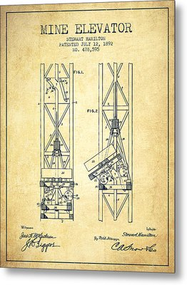 Mine Elevator Patent From 1892 - Vintage Metal Print by Aged Pixel