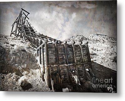 Mine Structure In Silver City Metal Print by Dianne Phelps