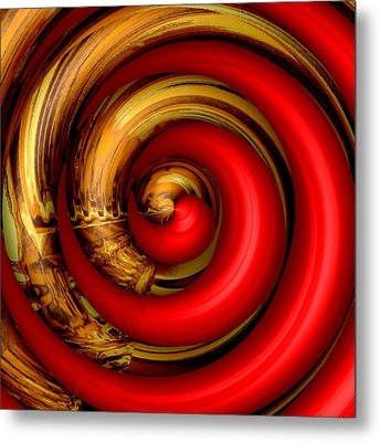 Mingle - Red Metal Print by Wendy J St Christopher