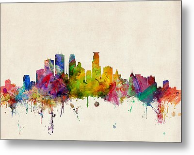 Minneapolis Minnesota Skyline Metal Print by Michael Tompsett