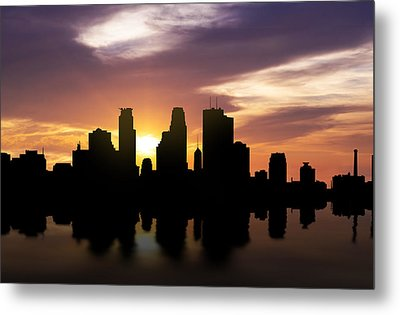 Minneapolis Sunset Skyline  Metal Print by Aged Pixel