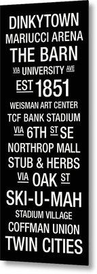 Minnesota College Town Wall Art Metal Print by Replay Photos