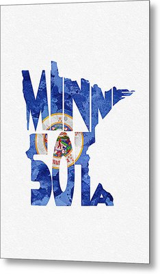 Minnesota Typographic Map Flag Metal Print by Ayse Deniz