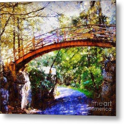 Minnewaska Wooden Bridge Metal Print by Janine Riley