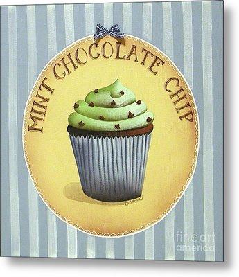 Mint Chocolate Chip Cupcake Metal Print by Catherine Holman