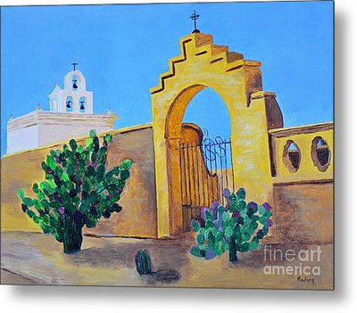 Metal Print featuring the painting Mission San Xavier by Rodney Campbell