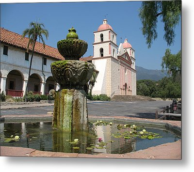 Mission Santa Barbara And Fountain Metal Print by Christiane Schulze Art And Photography