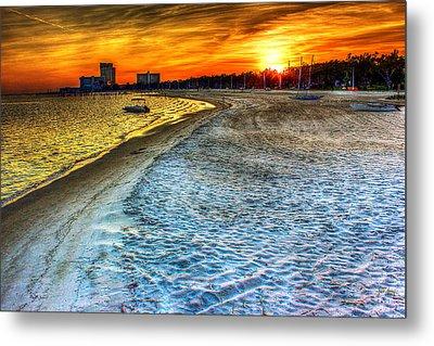 Beach - Coastal - Sunset - Mississippi Gold Metal Print by Barry Jones