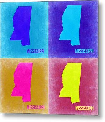 Mississippi Pop Art Map 2 Metal Print by Naxart Studio