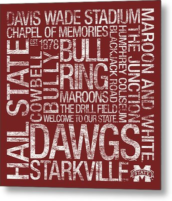 Mississippi State College Colors Subway Art Metal Print by Replay Photos
