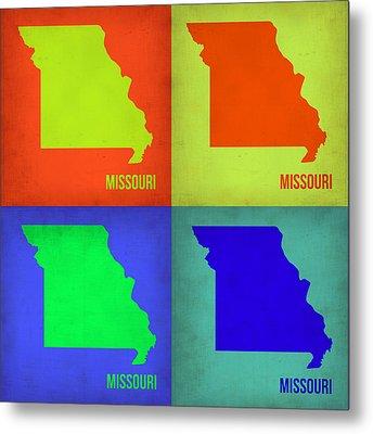 Missouri Pop Art Map 1 Metal Print by Naxart Studio