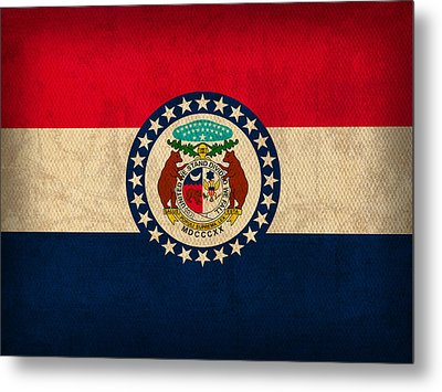 Missouri State Flag Art On Worn Canvas Metal Print by Design Turnpike