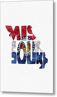 Missouri Typographic Map Flag Metal Print by Ayse Deniz