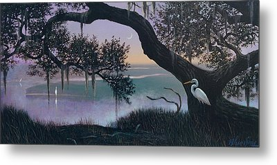 Misty Morning At Seabrook Metal Print by Blue Sky