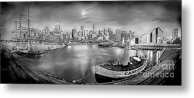 Misty Morning Harbour - Bw Metal Print by Az Jackson