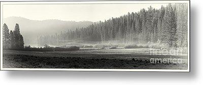 Misty Morning In Yosemite Sepia Metal Print by Jane Rix