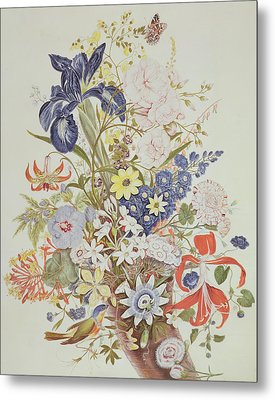Mixed Flowers In A Cornucopia Metal Print by Thomas Robins