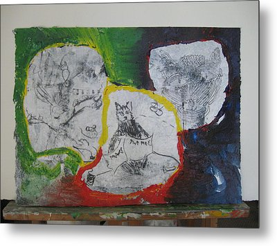 Mixed Media Class Three With Cats Metal Print by AJ Brown