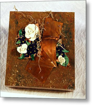 Mixed Media Flower Garden Metal Print by P Russell