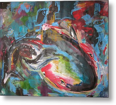 Mobie Joe The Whale-original Abstract Whale Painting Acrylic Blue Red Green Metal Print by Seon-Jeong Kim