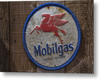 Mobil Gas Sign Metal Print by Garry Gay