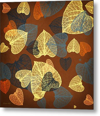 Mocha Square Leaf Abstract Metal Print by Christina Rollo