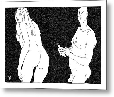 Model And Artist 10 Metal Print by Leonid Petrushin