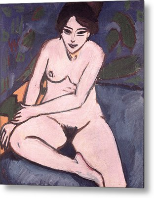 Model On Blue Ground Metal Print by Ernst Ludwig Kirchner
