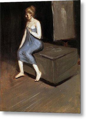 Model Sitting Metal Print by Edward Hopper