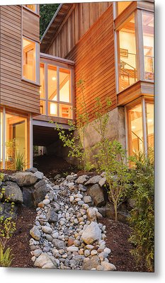 Modern House And Rocky Creek Metal Print by Will Austin