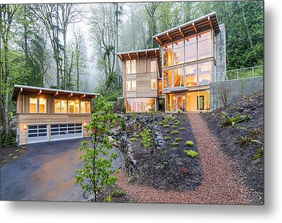 Modern House Illuminated In Woods Metal Print by Will Austin