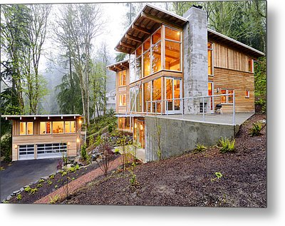 Modern House In Woods Metal Print by Will Austin