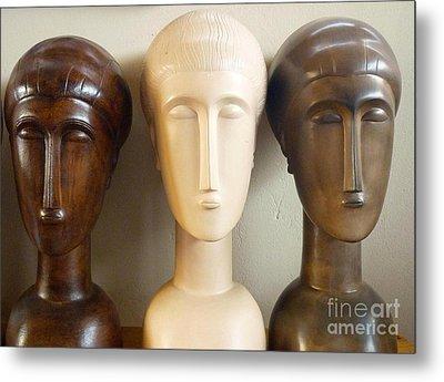 Modigliani Style Ceramic Heads Metal Print by Susanna Baez