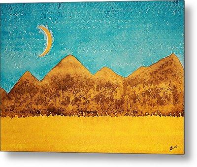Mojave Moonrise Original Painting Metal Print by Sol Luckman