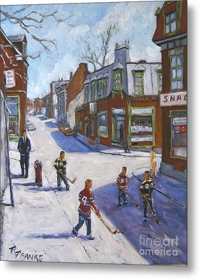 Molasses Town Hockey Rivals In The Streets Of Montreal By Pranke Metal Print by Richard T Pranke