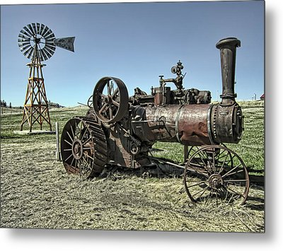 Molson Washington Ghost Town Steam Tractor And Wind Mill Metal Print by Daniel Hagerman