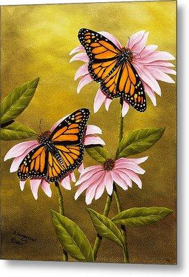 Monarchs And Coneflower Metal Print by Rick Bainbridge