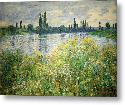 Monet's Banks Of The Seine At Vetheuil Metal Print by Cora Wandel