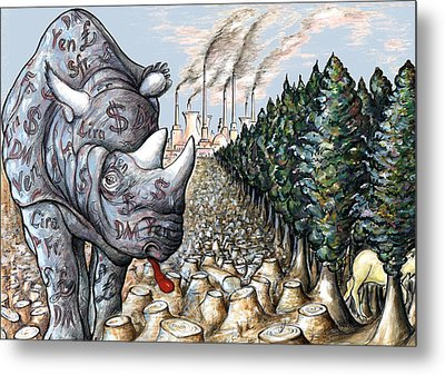 Money Against Nature - Cartoon Metal Print by Art America Online Gallery