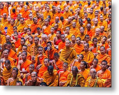 Monk Mass Alms Giving Metal Print by Fototrav Print