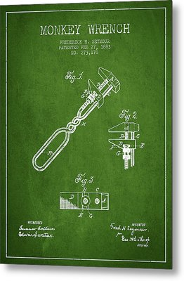 Monkey Wrench Patent Drawing From 1883 - Green Metal Print by Aged Pixel