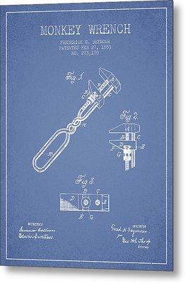 Monkey Wrench Patent Drawing From 1883 - Light Blue Metal Print by Aged Pixel
