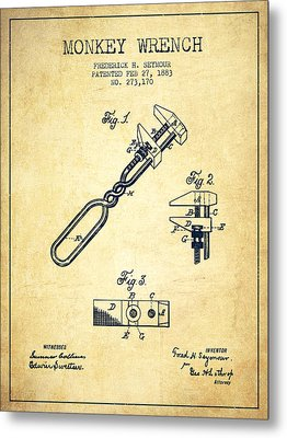 Monkey Wrench Patent Drawing From 1883 - Vintage Metal Print by Aged Pixel