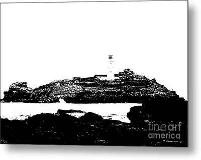 Monochromatic Godrevy Island And Lighthouse Metal Print by Terri Waters