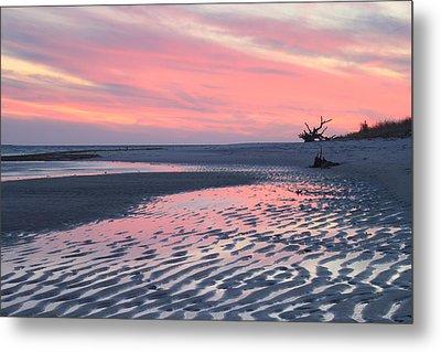 Monomoy National Wildlife Refuge Cape Cod Tidal Flats Sunset Metal Print by John Burk