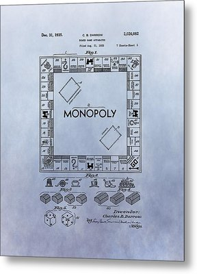 Monopoly Board Game Patent Metal Print by Dan Sproul