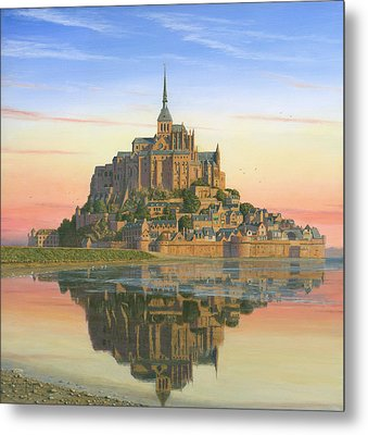 Mont Saint-michel Morn Metal Print by Richard Harpum